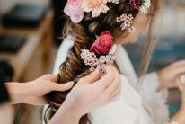 bride wedding braid with flowers